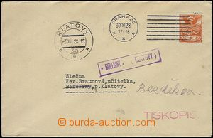 65332 - 1928 dopis s frank. 20h jako tiskopis, razítko poštovny BO