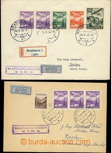 65351 - 1943 2x celistvost 1. let Bratislava - Prešov, 1x R dopis v