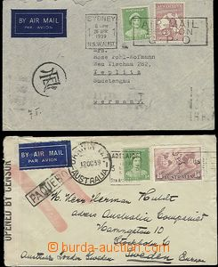 65358 - 1939 2 pcs of air-mail letters addressed 1x to Sudetenland w