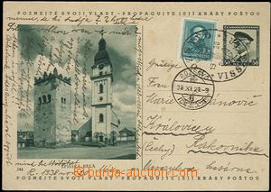 65387 - 1938 Czechoslovak p.stat CDV69/244 to Bohemia, uprated with