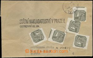 65390 - 1945 address part newspaper cover, franked with. stamps BOHE