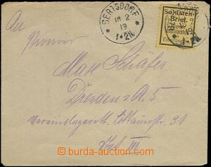 65397 - 1919 letter sent by FP, stmp SOLDATEN BRIEF, 2x CDS Bertsdor