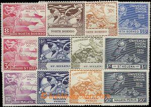 65456 - 1949 NORTH BORNEO  Mi.273-76, PERLIS Mi.3-6, ST. HELENA Mi.1