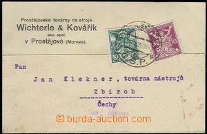 65485 - 1920 lístek s přítiskem firmy Wichterle & Kovařík, vyfr