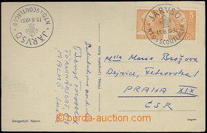 65489 - 1951 SKAUTING / ŠVÉDSKO  pohlednice zaslaná do ČSR s raz