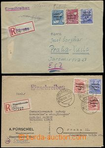 65500 - 1948 SOVIET ZONE  comp. 2 pcs of Reg letters addressed to Cz