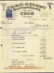 65510 - 1925-30 KOLKY  sestava 2ks firemních účtů s nalepenými