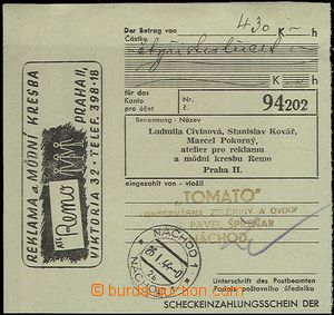 65518 - 1944 cut cheque order with private advertising added print f
