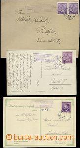 65538 - 1942-43 comp. 3 pcs of entires with postal agency pmk HOŘEN