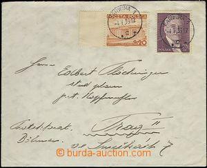 65545 - 1939 dopis zaslaný z obsazené Karviné do Prahy, vyfr. zn.