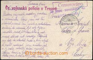65568 - 1919 Czechosl. military police in/at Trnava, red straight li