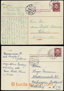 65569 - 1950-51 CDV96, sestava 2ks dopisnic do Německa, různý ods