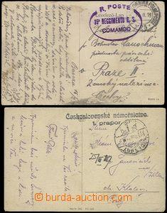 65884 - 1919 2 pcs of Ppc, 1x with straight line postmark Czechoslov