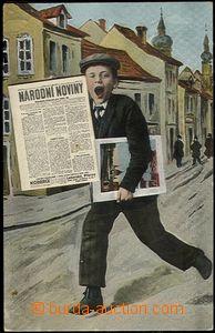 66051 - 1918 Přerov - koláž, kolportér, uvnitř novin skládačk