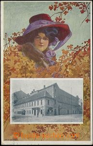 66052 - 1910 Brno - collage, lady in hat, building of Czech national