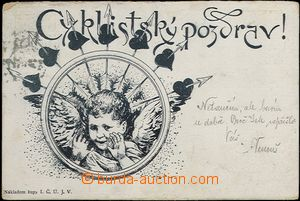 66053 - 1900 CYCLING, cycling greeting, cherub in wheel; long addres
