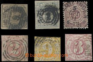 66062 - 1853-1890 comp. 6 pcs of, contains BRUNSWICK Mi.8a, HAMBURG