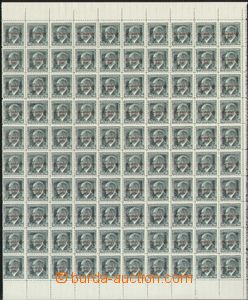 66165 - 1939 Alb.8 Beneš, overprint,  100 pcs of right half counter