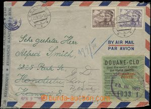 66176 - 1950 airmail letter on/for Hawaii, with Pof.L19+L21, censors
