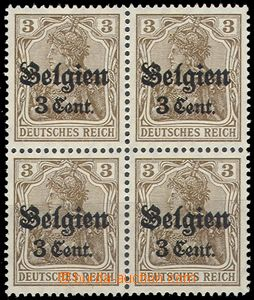 66184 - 1916 BELGIUM - country post, Mi.11a, block of four with ST,