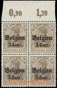 66185 - 1916 BELGIUM - country post, Mi.11a, block of four with ST,