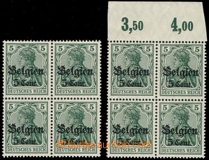 66186 - 1916 BELGIUM - country post, Mi.12, 2x block of four with ST
