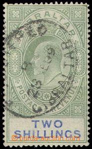 66251 - 1905 Mi.53y, 2Sh Eduard VII., průsv. Wz2, téměř celé DR