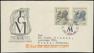 66293 - 1947 ministerská FDC se známkami Pof.458-459 (úmrtí TGM)