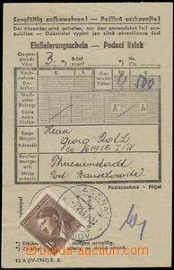 66308 - 1943 C.C. TEREZIN-THERESIENSTADT, certificate of mailing for