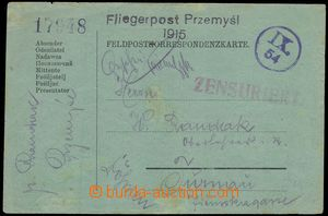 66318 - 1915 PRZEMYŠL, FP card transported airmail post, straight l