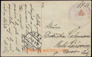66322 - 1919 pohlednice zaslaná PP s kulatým fialovým razítkem s