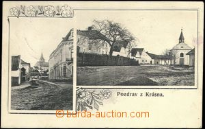 66368 - 1907 Krásno nad Bečvou  - 2-views, street, village square;