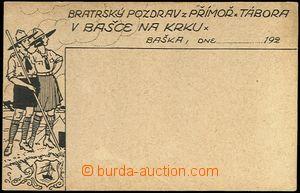 66415 - 1925 bratrský pozdrav ze skautského tábora v Bašce na Kr