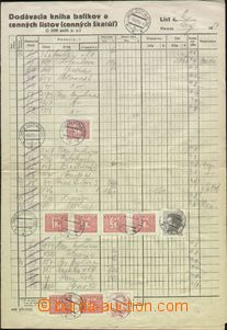 66481 - 1954 accounting sheet franked mixed franking postage-due and