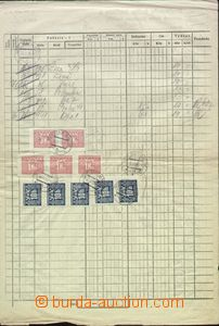 66482 - 1956 accounting sheet franked Postage due stamps various val