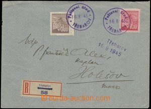 66753 - 1945 philatelically influenced Reg letter with 378, 379, pro