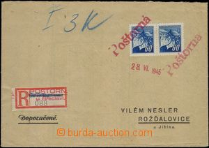 66758 - 1945 philatelically influenced Reg letter with Pof.375 2x, r