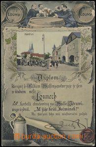 67080 - 1919 Louny - koláž, sudy, pijáci piva, diplom; prošlá,