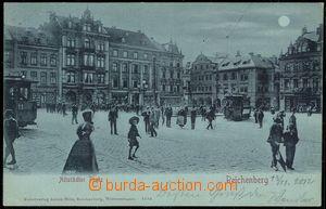 67098 - 1899 Liberec (Reichenberg) - square, people, tram, green sha