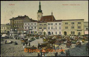 67114 - 1908 VYŠKOV - market in the square; Us, light bumped corner