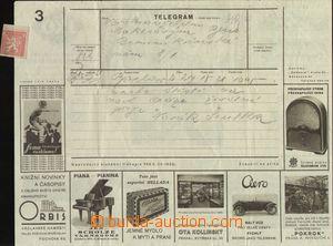 67219 - 1932 reklamní telegram Čerekla č.3 (tiskopis 769č IV-193