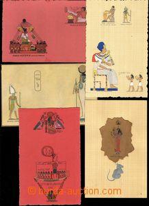 67297 - 1920 EGYPT  sestava 5ks pohlednic se staroegyptskými motivy
