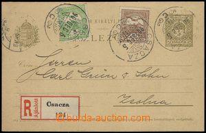 67359 - 1907 Mi.P29, dofr. zn. Mi.58, 61, zasláno jako R, DR Csacza