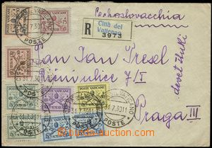 67370 - 1930 Reg letter to Prague with Mi.1-7, CDS Citta del Vatican