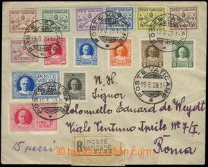 67371 - 1929 Reg letter to Rome with Mi.1-15, complete set, CDS Post