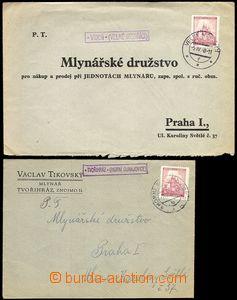 67382 - 1940 sestava 2ks dopisů s 1-jazyčnými otisky poštoven: T