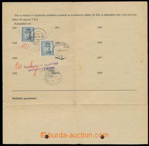 67527 - 1947-49 blank form Přihláška to novinkové service, fee f