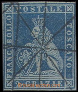 67574 - 1851 Mi.5ya, dark blue, blue-gray paper, full margins, c.v..