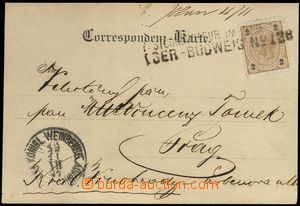 67640 - 1897 postcard (Franz Joseph) with 2 Kreuzer, straight line p