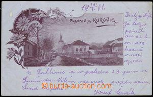 67661 - 1901 Kurovice - pohled ke kostelu; DA, prošlá, odřené r�